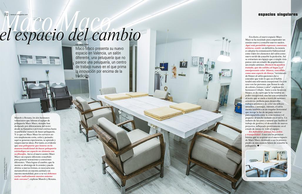 "Doble pàgina revista CC Magazine 162 ""Espacio singular"""