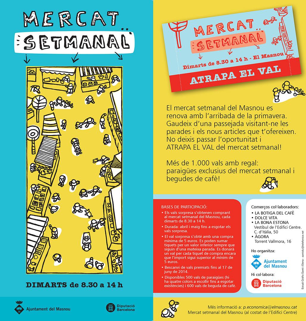 """Flyer campanya """"Atrapa el val"""" Mercat Setmanal del Masnou"""