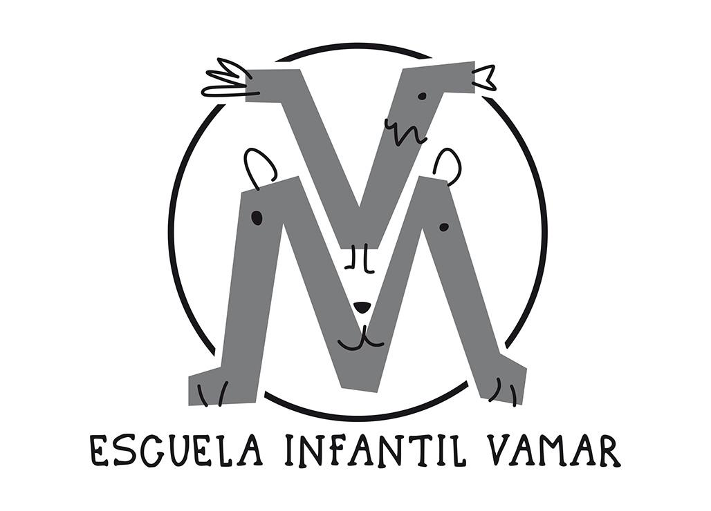Logotip Escuela Infantil Vamar a escala de grisos